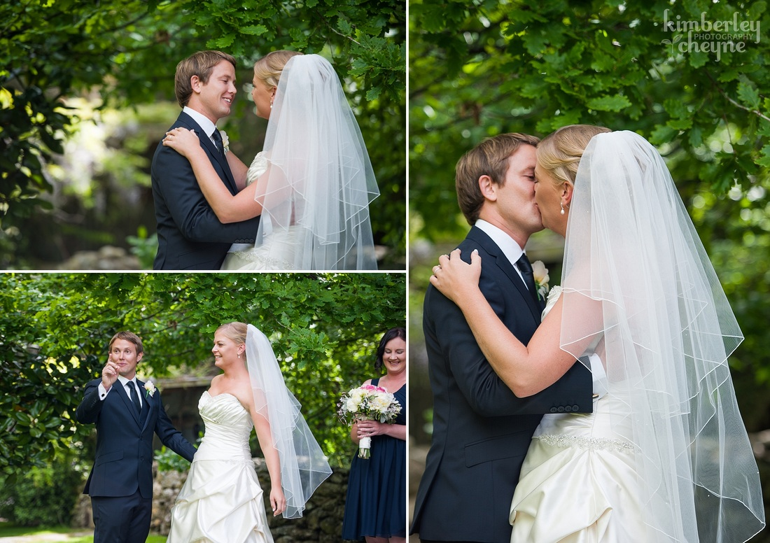 Dunedin Wedding, KImberley Cheyne Photography, Grandview Gardens Wedding Ceremony, Bride and Groom, First Kiss